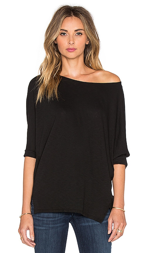 Michael Stars 3/4 Sleeve Wide Neck Dolman Tee in Black