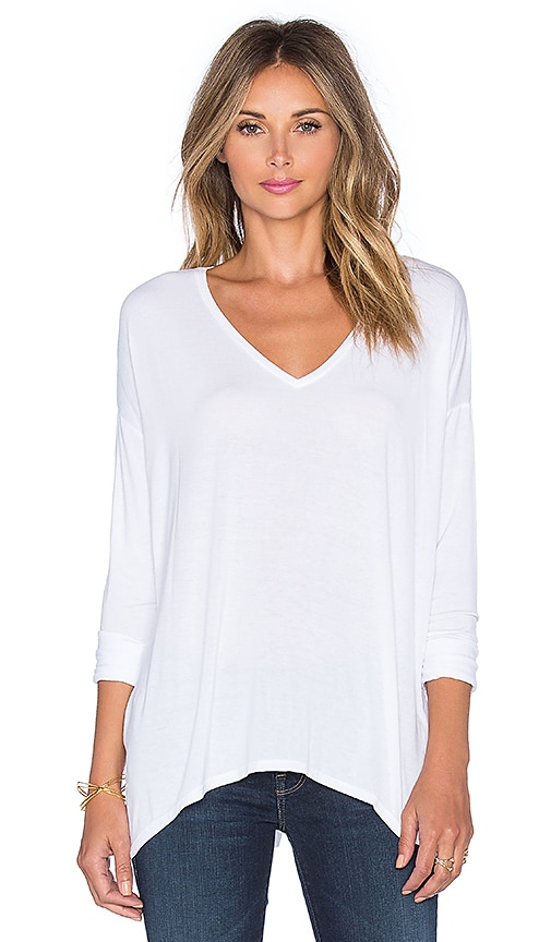 Michael Stars Long Sleeve V Neck With Side Slits Top in White