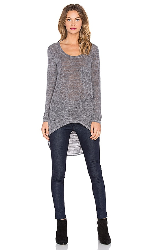 Michael Stars Extreme Hi Low With Pocket Top in Heather Grey