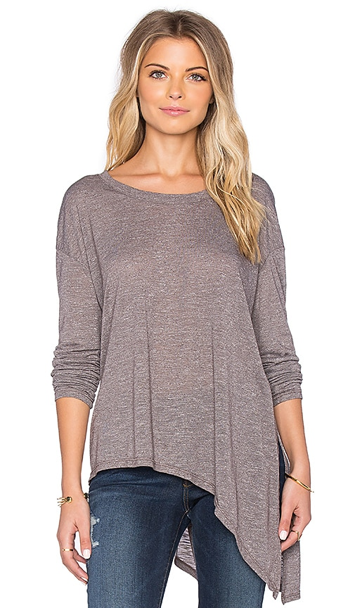 Michael Stars Long Sleeve Asymmetrical Hem Top in Quicksand