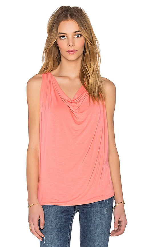 Michael Stars Draped Halter Tank in Coral