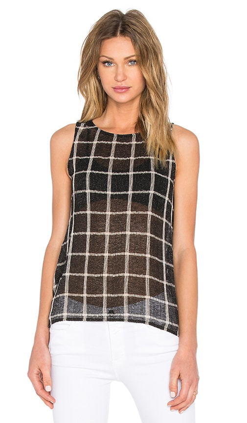 Michael Stars Plaid Crew Neck Tank in Black