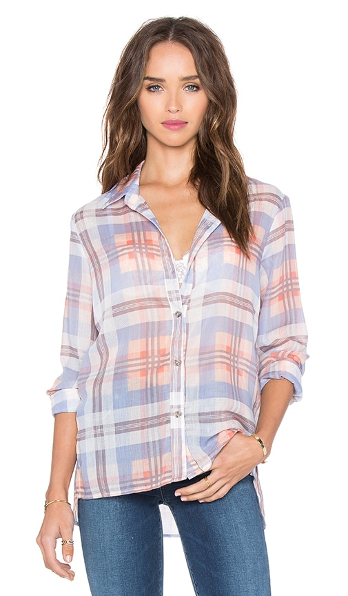 Michael Stars Yarn Dye Plaid Button Down Top in Bikini & Cove