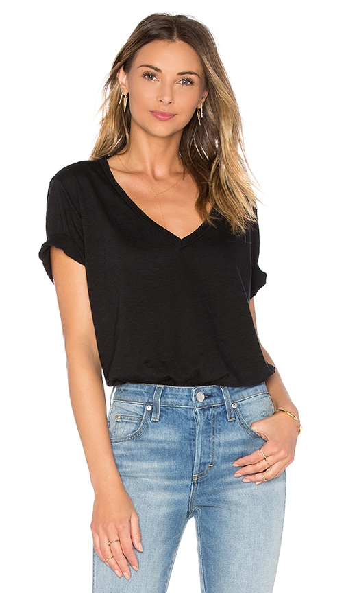 Michael Stars Short Sleeve V Neck Supima Cotton Slub Tee in Black