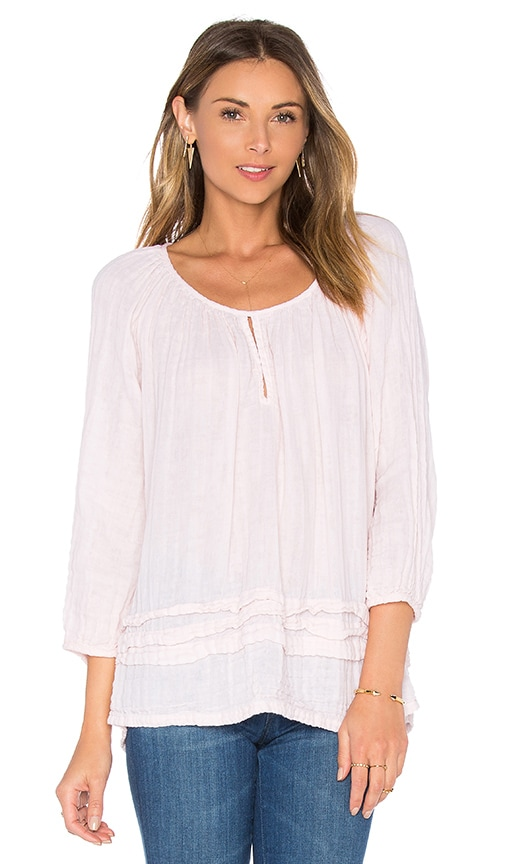 Michael Stars Double Gauze Keyhole Top in Pink