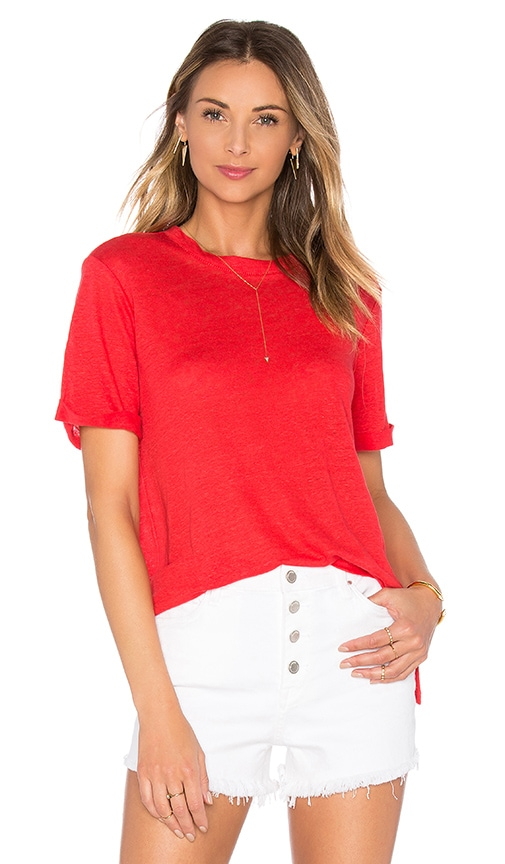 Michael Stars Short Sleeve Crew Neck Tee with Side Slits in red