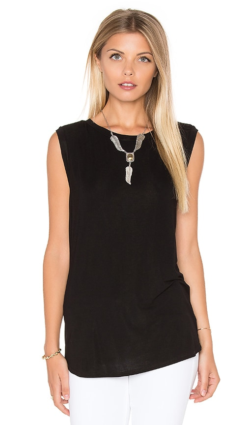 Michael Stars Twist Back Shell Tank in Black