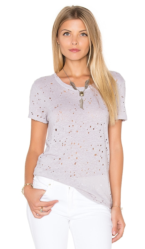 Michael Stars Ripped Texture Jersey Short Sleeve Crew Tee in Gray