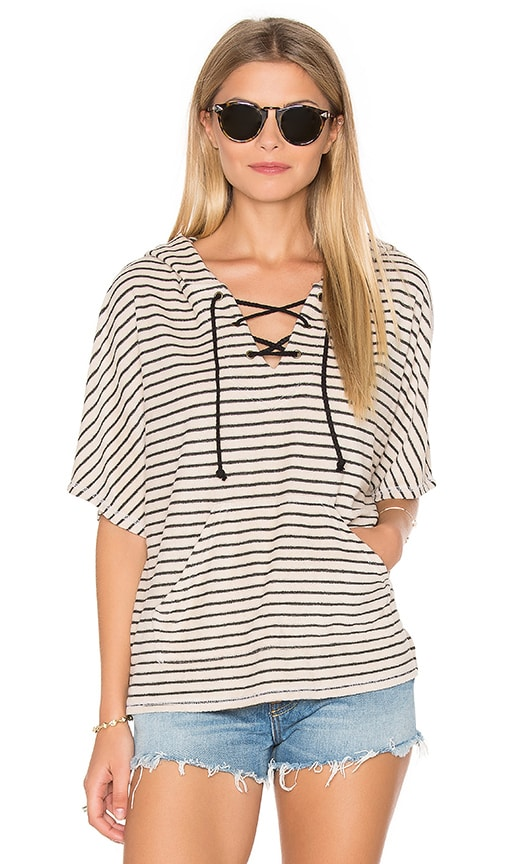 Michael Stars Playa Stripe Lace Up Baja Top in Tan