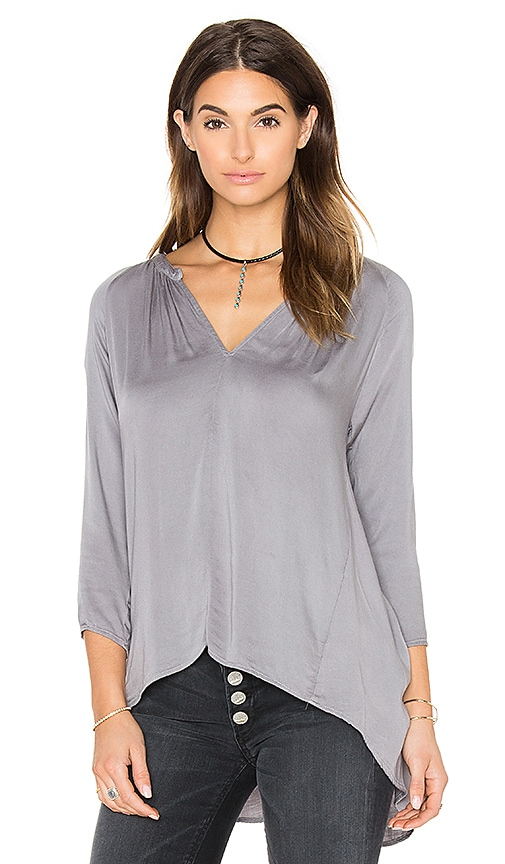 Michael Stars Long Sleeve Hi Low Crossback Top in Gray