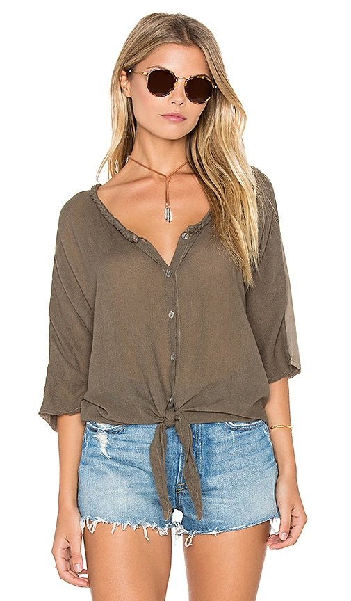 Michael Stars Gauze Mix Button Tie Front Top in Olive