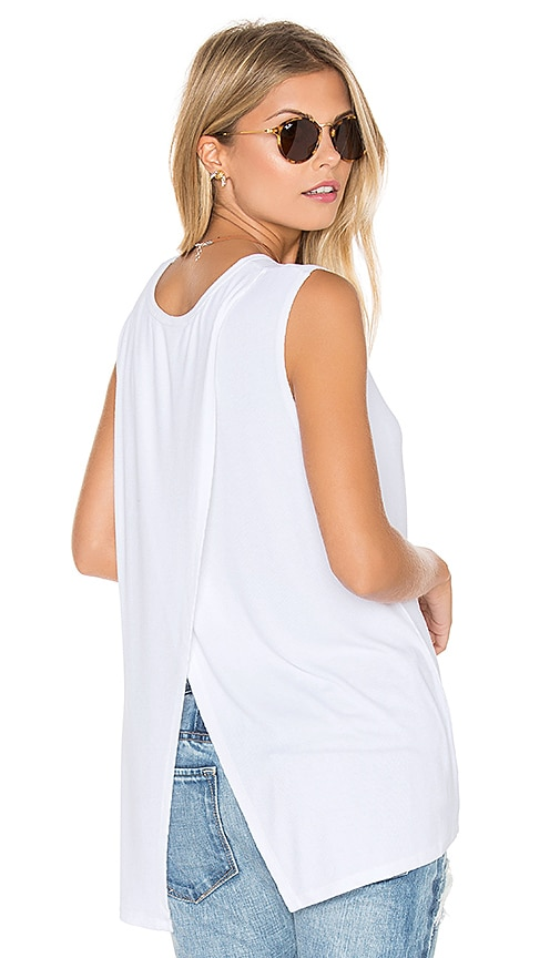 Michael Stars 2x1 Rib Cross Back Tank in White