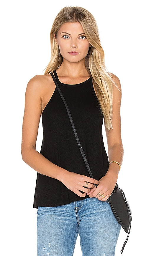Michael Stars 2x1 Rib Flow Halter Tank in Black