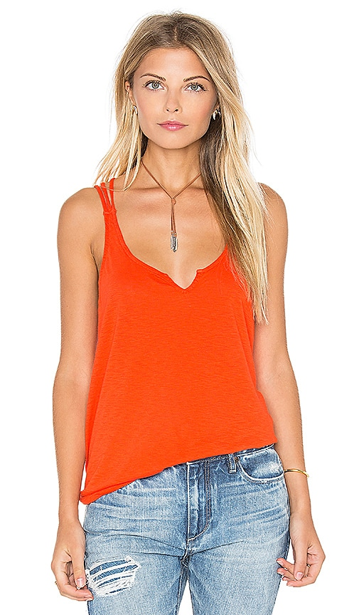 Michael Stars Cotton Supima Slub Strappy Cross Back Tank in Orange