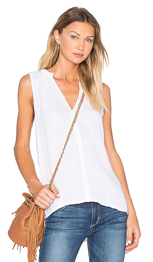 Michael Stars Double Gauze Split Neck Lace Trim Tank in White