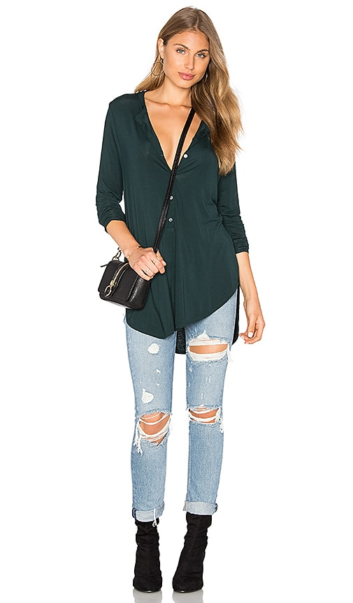 Michael Stars Long Sleeve Tunic Henley Top in Green