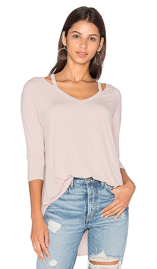 Michael Stars 3/4 Sleeve Slit Shoulder Top in Blush