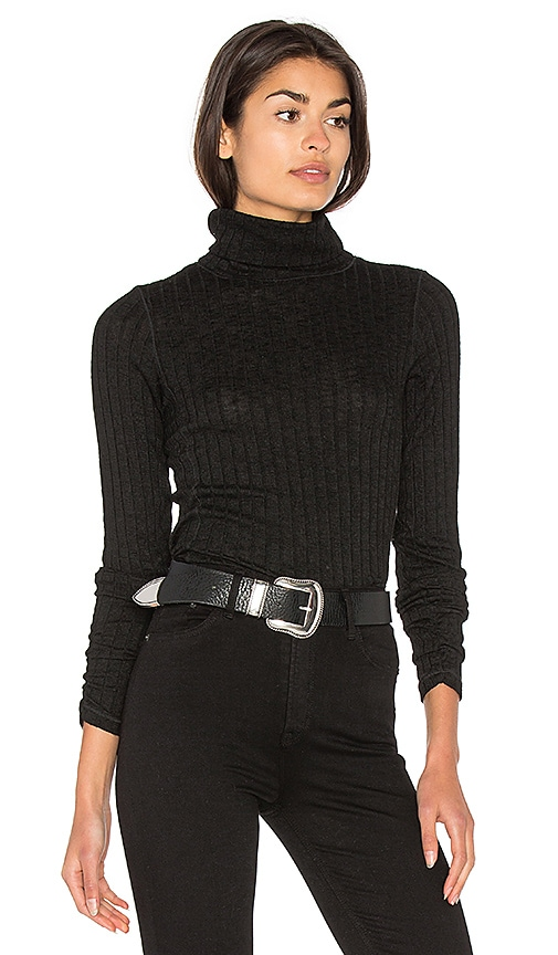 Michael Stars Long Sleeve Turtleneck Top in Black
