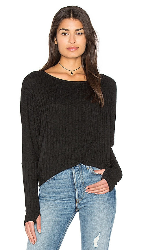 Michael Stars Boatneck Thumbhole Top in Black