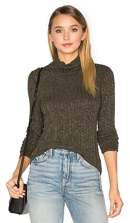 Michael Stars Long Sleeve Turtleneck Top in Dark Green