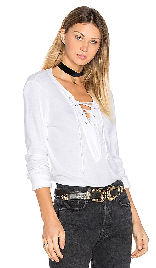 Michael Stars Long Sleeve Tie Neck Top in White