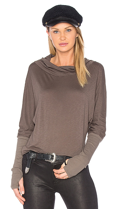 Michael Stars Luxe Slub Cowl Neck Top in Green