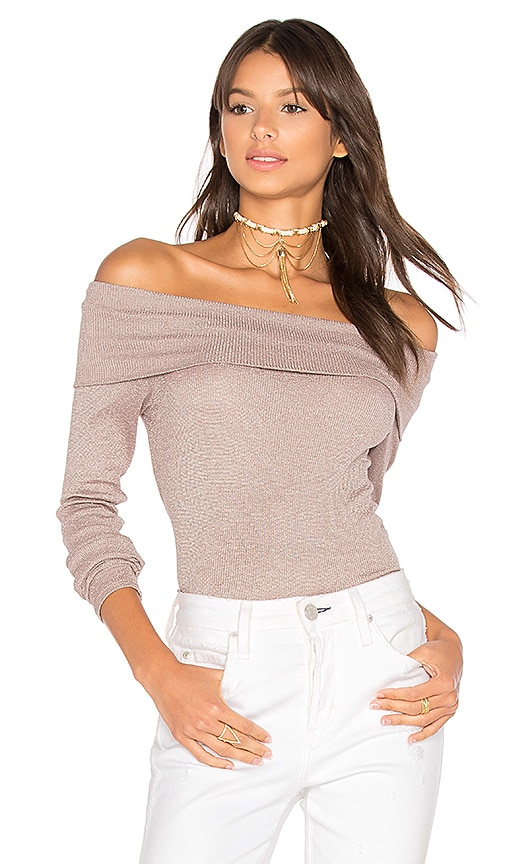 Michael Stars Shine Off Shoulder Top in Taupe