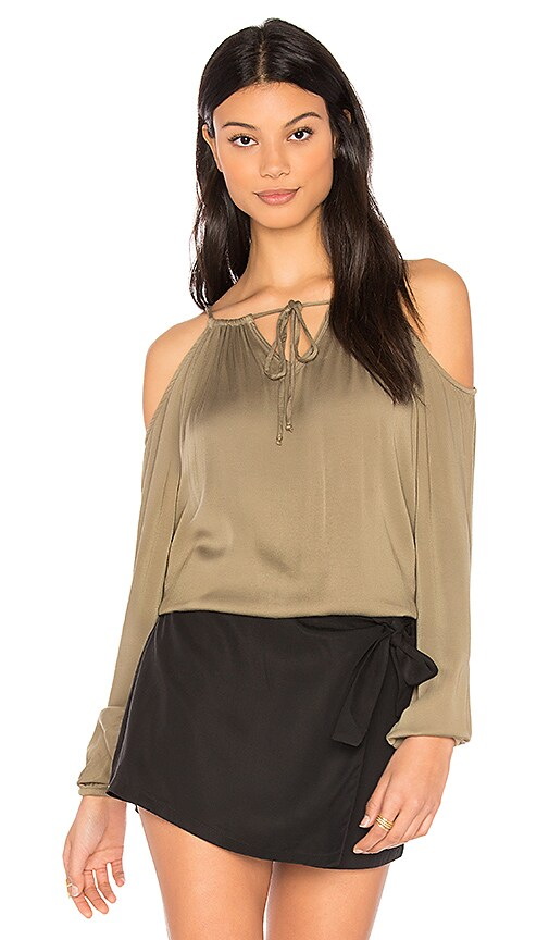 Michael Stars Cold Shoulder Top in Olive