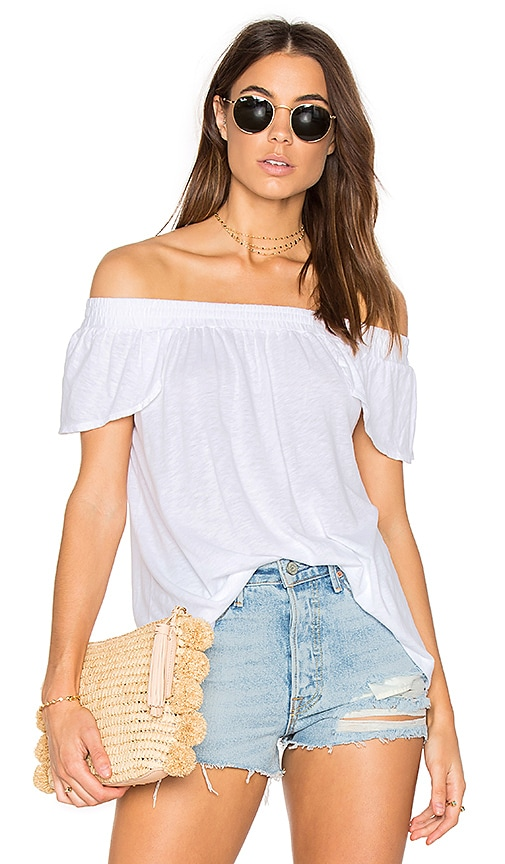 Michael Stars Luxe Off Shoulder Tee in White