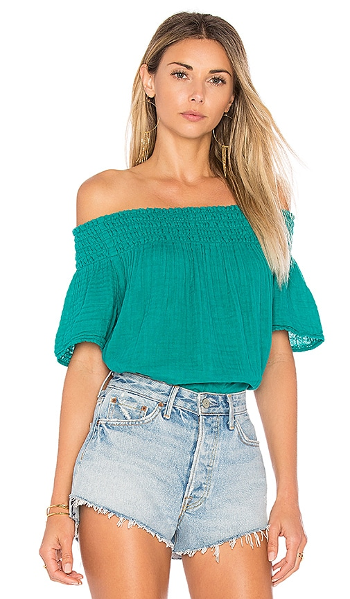 Michael Stars Smocked Off The Shoulder Top in Green