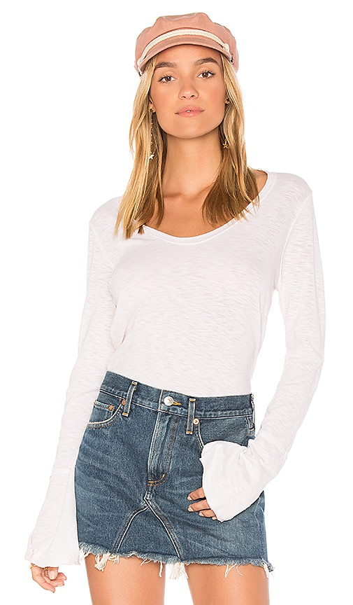 Michael Stars Soft V Neck Bell Sleeve Top in White
