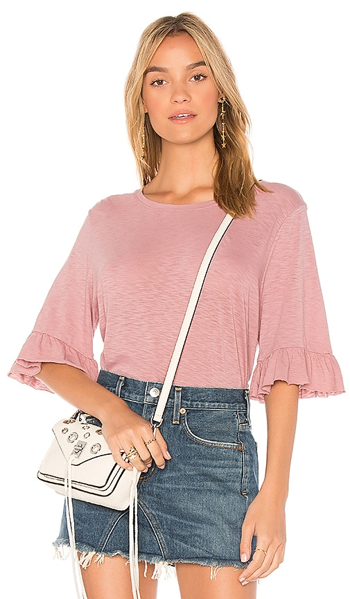 Michael Stars Ruffle Sleeve Top in Pink