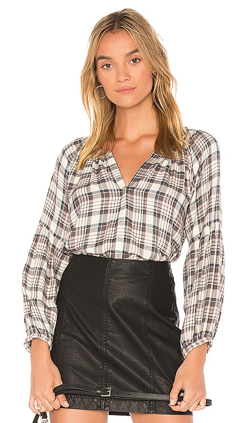 Michael Stars Plaid Top in White