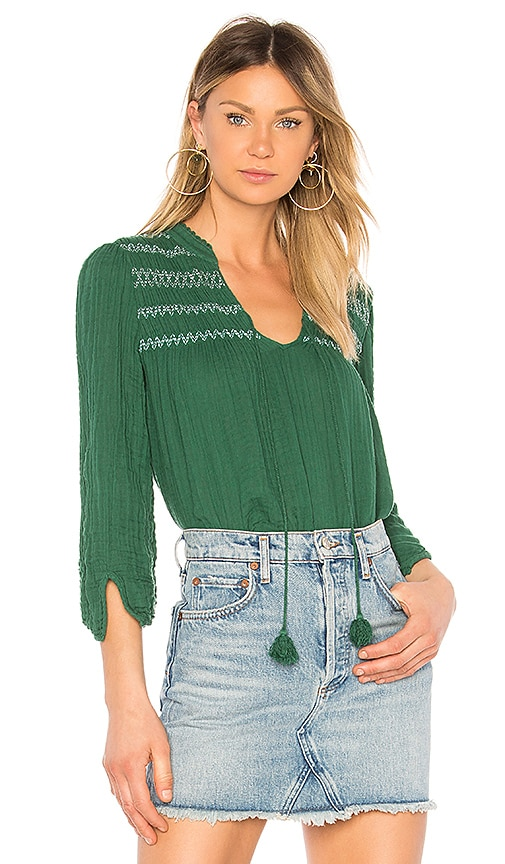 Michael Stars Embroidered Peasant Top in Green
