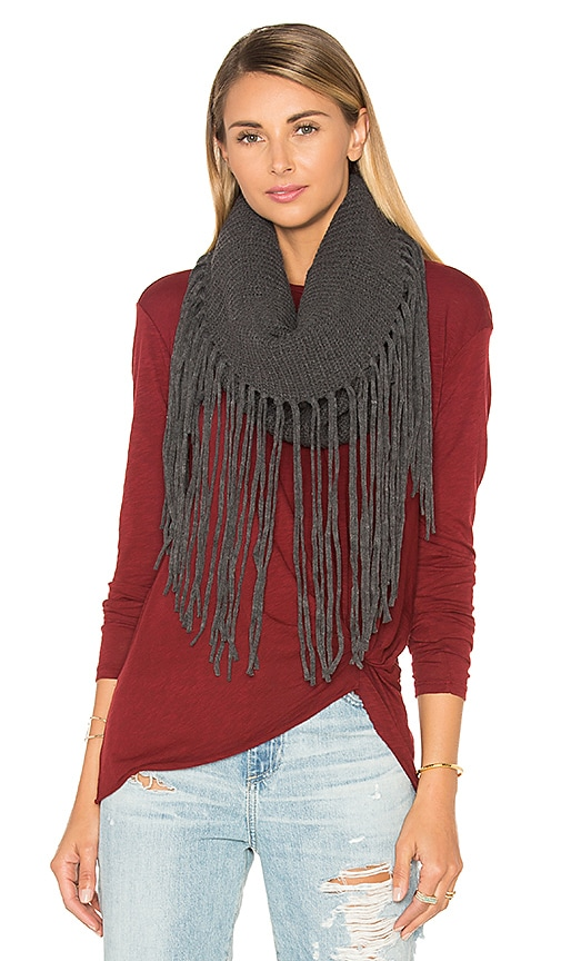 Michael Stars Fringed Out Cowl Scarf in Charcoal