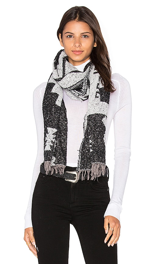 Michael Stars Mesa Steps Blanket Scarf in Black