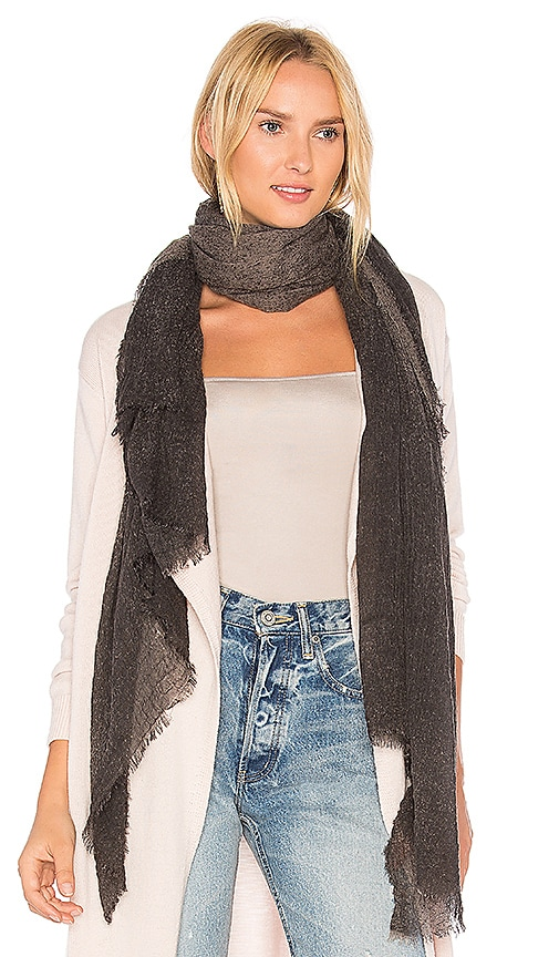 Michael Stars Crinkled Ombre Scarf in Black
