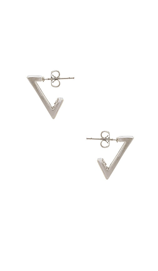 Michelle Campbell Double V Pave Huggie Earrings in Metallic Silver