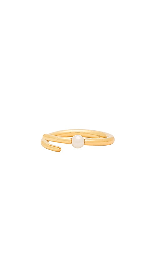 Michelle Campbell Skinny Tornado Pearl Ring in Metallic Gold