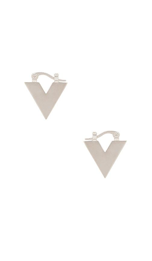 Michelle Campbell V Huggie Earrings in Metallic Silver