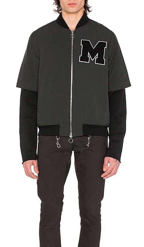 Midnight Studios Layered Varsity Jacket in Black