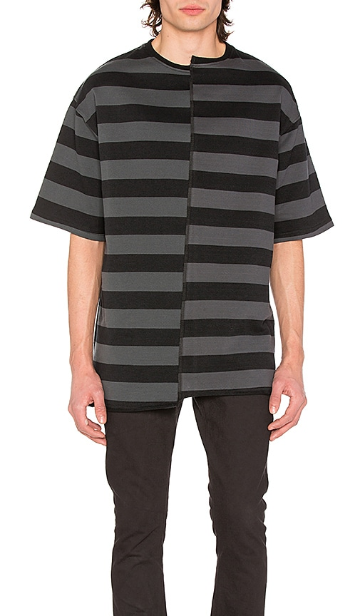 Midnight Studios Layered Stripe Tee in Black