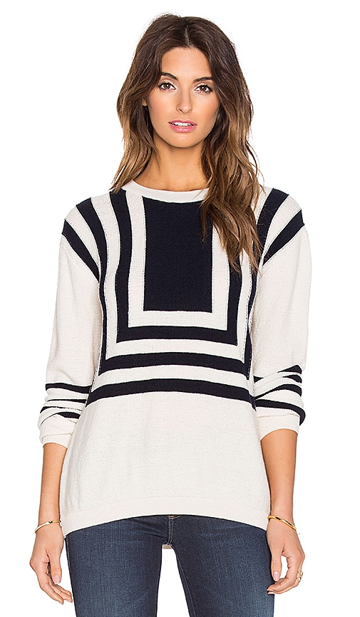 M.i.h Jeans Bib Breton Sweater in Cream & Navy