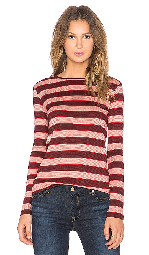 M.i.h Jeans Kate Long Sleeve Tee in Red & Black