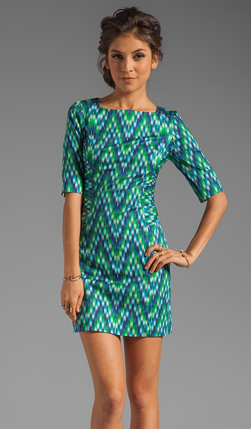 Digital Zig Zag Carina 3/4 Sleeve Sheath Dress