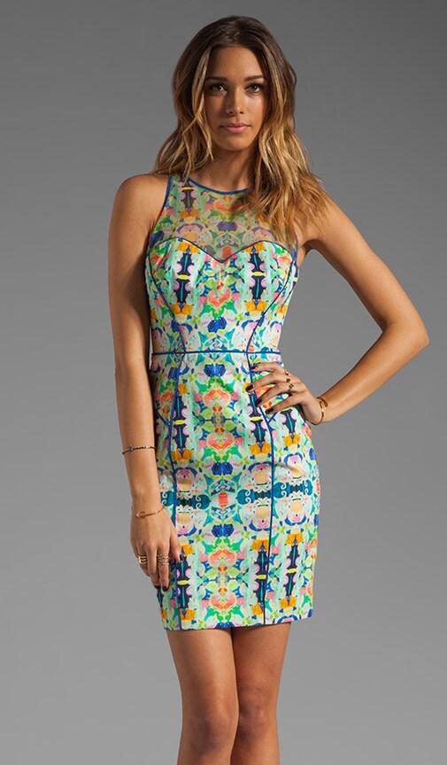 Kaleidoscope Print on Stretch Cotton Sateen Mesh Racer Dress