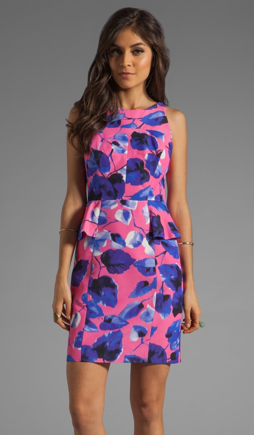 Ivy Print on Silk Cotton Faille Peplum Sheath Dress