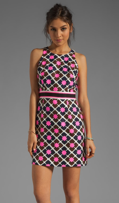 Anna Tile Print on Silk Linen Sheath Dress