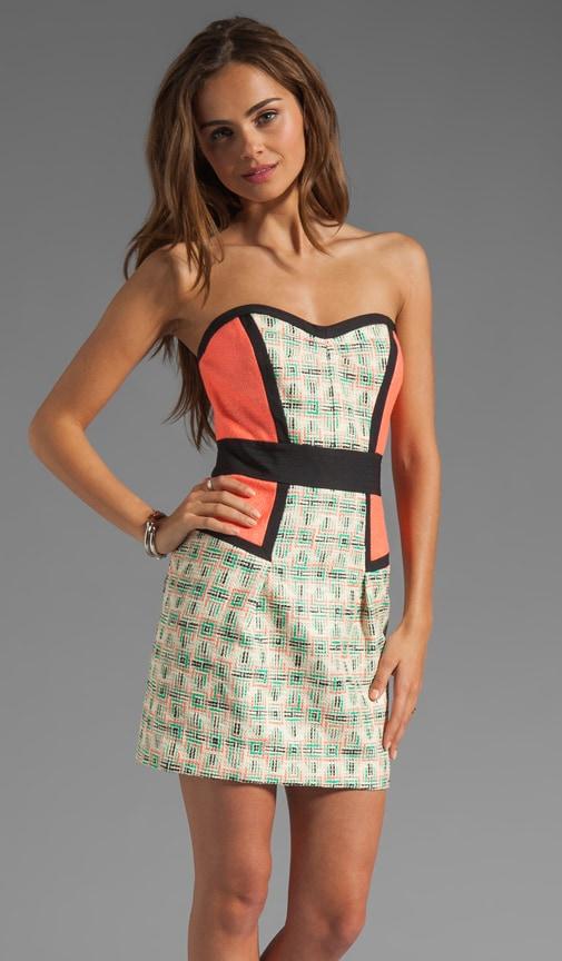 Catalan Paper-Finish Tweed Sweetheart Dress