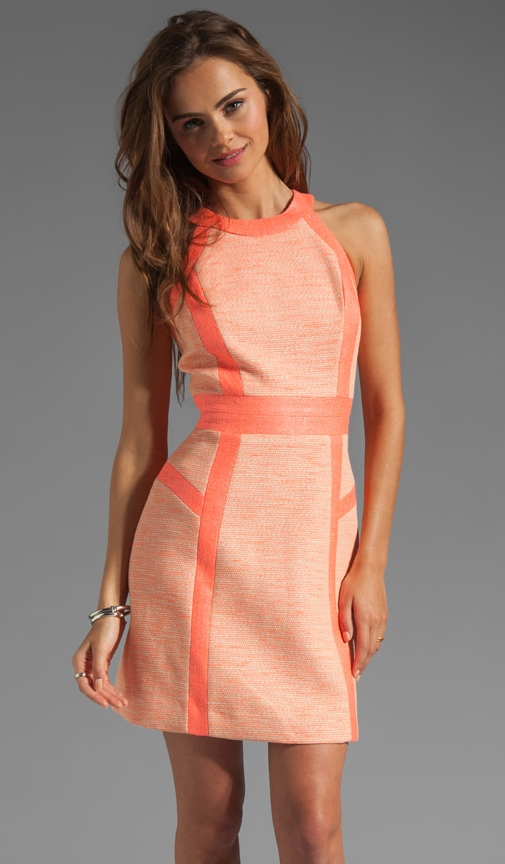 Neon Couture Cotton Tweed Piped Strappy Dress